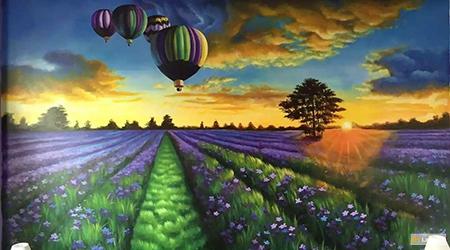 hot air balloon in lavender field landscape